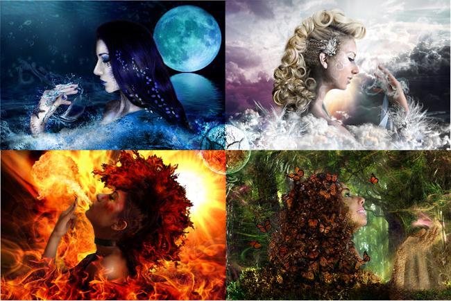 четирите елемента земя въздух вода огън